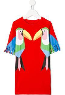 Stella Mccartney Kids Vestido Com Estampa De Papagaio - Vermelho