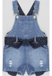 Jardineira Jeans Infantil Com Faixa Para Amarrar Azul Escuro