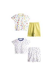 Kit Pijama Peixinho Dourado Diversáo E Aviaçáo Branco