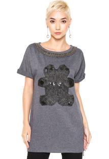 Camiseta Fechado Queens Paris Bordado Cinza