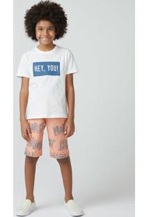 Conjunto Infantil Menino Com Bermuda Estampada Hering Kids
