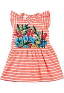 Vestido Malha Listrada Cool Floral - Laranja 1
