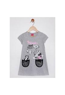 Vestido Disney Infantil Para Menina - Cinza