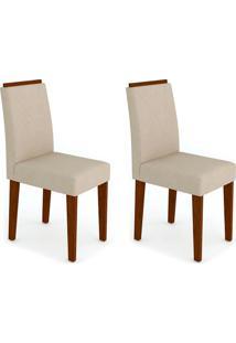 Conjunto Com 2 Cadeiras Amanda I Castanho E Creme