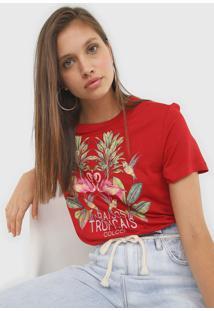 Camiseta Colcci ParaãSos Tropicais Vermelha - Vermelho - Feminino - Viscose - Dafiti