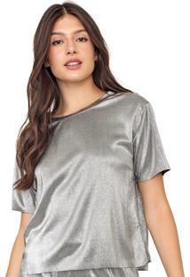 Camiseta Enfim Plissada Prata