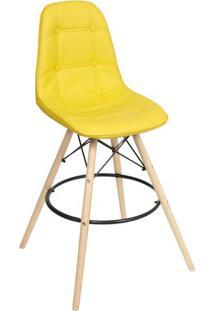 Banqueta Eames Botonê- Amarela & Marrom- 106X56X56Cmor Design