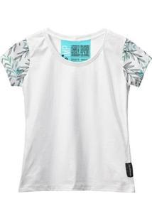 Camiseta Baby Look Feminina Algodão Manga Curta Macia Estilo - Feminino-Branco+Verde