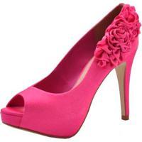 72c8f5132 Peep Toe Laura Prado Cetim Italiano - Feminino-Rosa