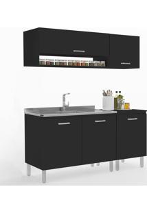 Cozinha Compacta Uccelli 5 Portas 600071 Preto - Manfroi