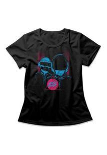 Camiseta Feminina Daft Punk Preto