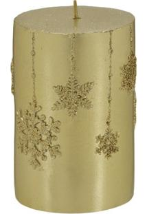 Vela Decorativa Em Relevo- Dourada- 10,5Xã˜6,5Cm-Mabruk