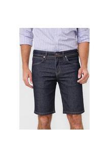 Bermuda Jeans Wrangler Reta Pespontos Azul-Marinho