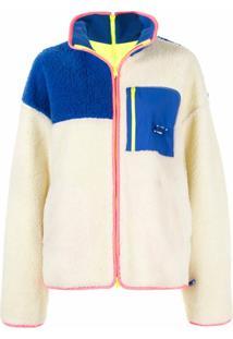 Ader Error Suéter Oversized Color Block Com Acabamento Em Pelo - Branco