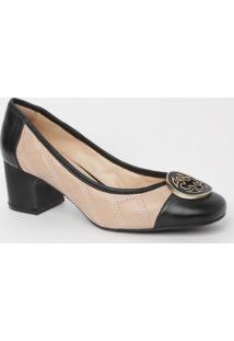 Sapato Em Couro Matelassê- Nude Preto- Salto: 5,5Ccapodarte