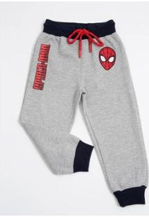 Calça Infantil Moletom Homem Aranha Marvel Masculino - Masculino-Cinza