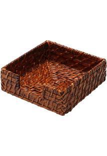 Porta Guardanapo Texturizado- Marrom- 6X18X18Cm-Bon Gourmet