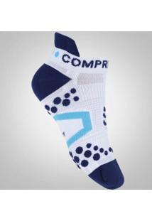 Meia De Compressão Compressport Run Low V2.1 - Masculina - Branco/Azul