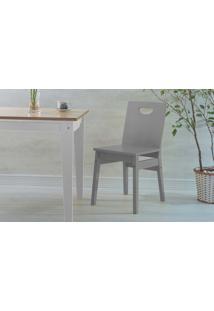 Cadeira Para Mesa De Jantar De Madeira Tucupi Laca Cinza Concreto 40X51X81Cm