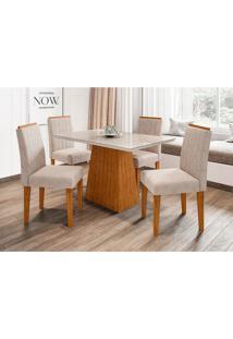 Conjunto De Mesa De Jantar Com Tampo De Vidro Jasmin E 4 Cadeiras Ana Ii Animalle Off White E Creme