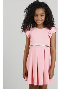 Vestido Infantil Em Jacquard Com Cinto Metalizado Rosa