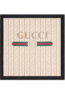 Gucci Lenço De Seda Estampa De Rosas - Neutro