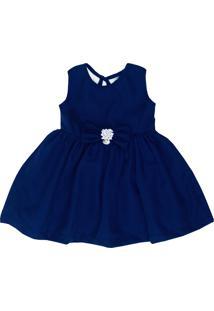 Vestido Infantil Pupi Baby Com Laço E Pingente Azul Marinho