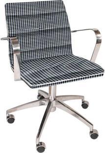 Cadeira De Escritório Diretor Estrela Jacquard Preto Com Branco
