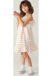 Vestido Infantil Com Babado Listrado