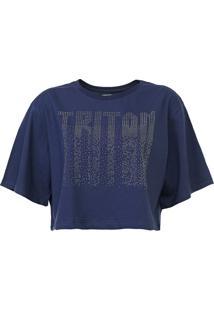 Camiseta Cropped Triton Aplicações Azul-Marinho - Kanui