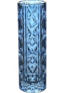 Vaso Texturizado- Cristal & Azul- 20,6Xã˜6,5Cm- Ffull Fit