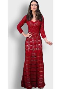 Vestido Longo Tricot Vazado Vermelho Camila