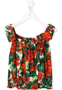 Dolce & Gabbana Kids Floral Blouse - Vermelho