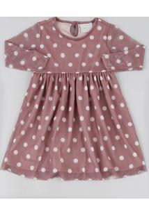 Vestido Infantil Em Tule Estampado De Poá Manga Longa Rosê