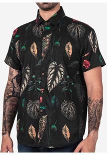 Camisa Folhas Tropical Preta 200174