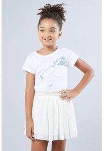 Camiseta Infantil Bolsinho Arara Reserva Mini Feminina - Feminino-Branco