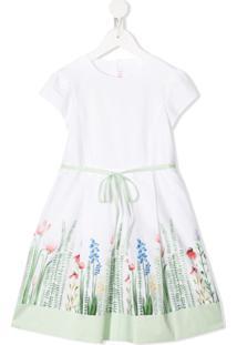 Il Gufo Vestido De Algodão Com Estampa Floral - Branco