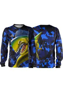 Camisa Pesca Quisty Majestoso Dourado Do Mar Camuflado Proteção Uv Dryfit Infantil Azul - Kanui