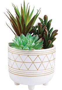 Cachepot Com Plantas- Branco & Dourado-22Xã˜12Cm-Mart