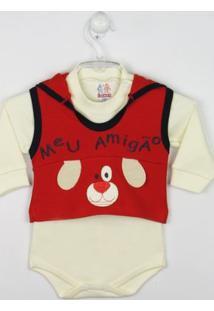 Body Bebê Manga Longa Suedine Com Colete - Masculino-Vermelho