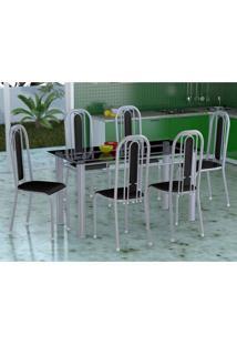Conjunto De Mesa Com 6 Cadeiras Granada Prata E Preto Liso Vd