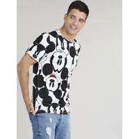 767e913091 Camiseta Masculina Estampada Mickey Manga Curta Gola Careca Branca