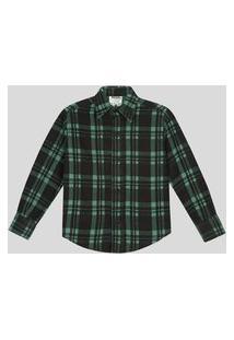Camisa Flanelada Infantil 1 A 3 Anos Xadrez Verde Verde