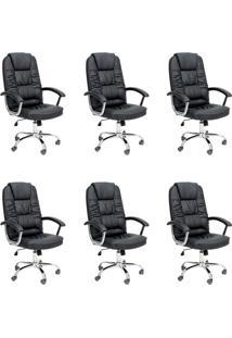 Conjunto Com 6 Cadeiras De Escritório Presidente Giratórias Finland Preto