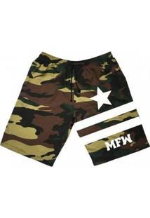 Bermuda Moletom Mfw Army Star Com Bolsos Masculina - Masculino-Preto+Verde