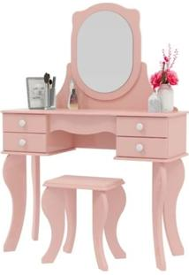 Penteadeira Patrimar Princesa Com 4 Gavetas Banqueta E Espelho Rosa
