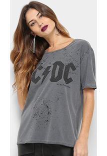 Camiseta Acostamento Fashion Feminina - Feminino-Chumbo