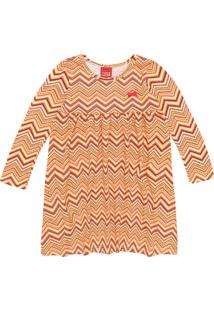 Vestido Kyly Infantil Geométrico Laranja - Tricae
