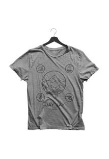 Camiseta Jay Jay Basica Wild Camping Cinza Mescla Dtg
