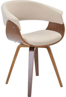 Cadeira Decorativa Para Escritório Recepção Ohana Fixa Linho Bege - Gran Belo